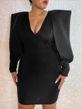 Chic v Neck Black Long Sleeve Bodycon Dress