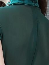 Stand Neck Gauze Panel Split Hem Velvet Cheongsam