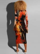 Colorful Tie Dye Printed Long Sleeve Maxi Dress