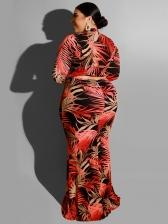 Leave Print Long Sleeve Plus Size Maxi Dress