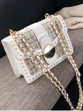Two Size Tweed Patchwork Rivets Chain Shoulder Bag