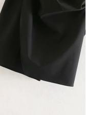 Bowknot Inclined Shoulder Ruched Black Dress