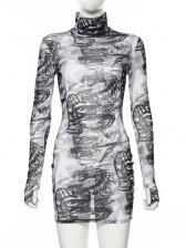 High Neck Printed Sexy See-Through Dress