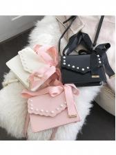 Cute Faux Pearls Decor Bow Ribbon Crossbody Shoulder Bag