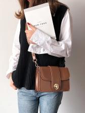 Simple Style Wide Belt Solid Color Pu Shoulder Bag