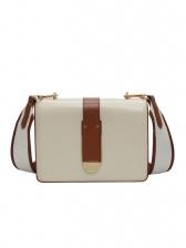 Detachable Belt Stitching Color Rectangle Shoulder Bag