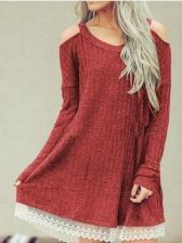Cold Shoulder V Neck Lace Panel Ladies Dress