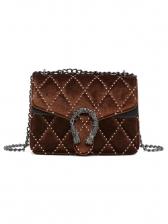 Suede Thread Rhombus Pattern Chain Shoulder Bag