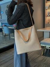 Solid Color Matt Pu Large 2 Piece Shoulder Bag