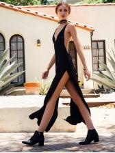 Sexy Backless Split Hem Solid Satin Long Evening Dress