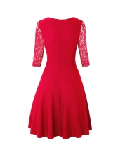 Vintage Style Lace Patchwork Pleated Ladies Dress
