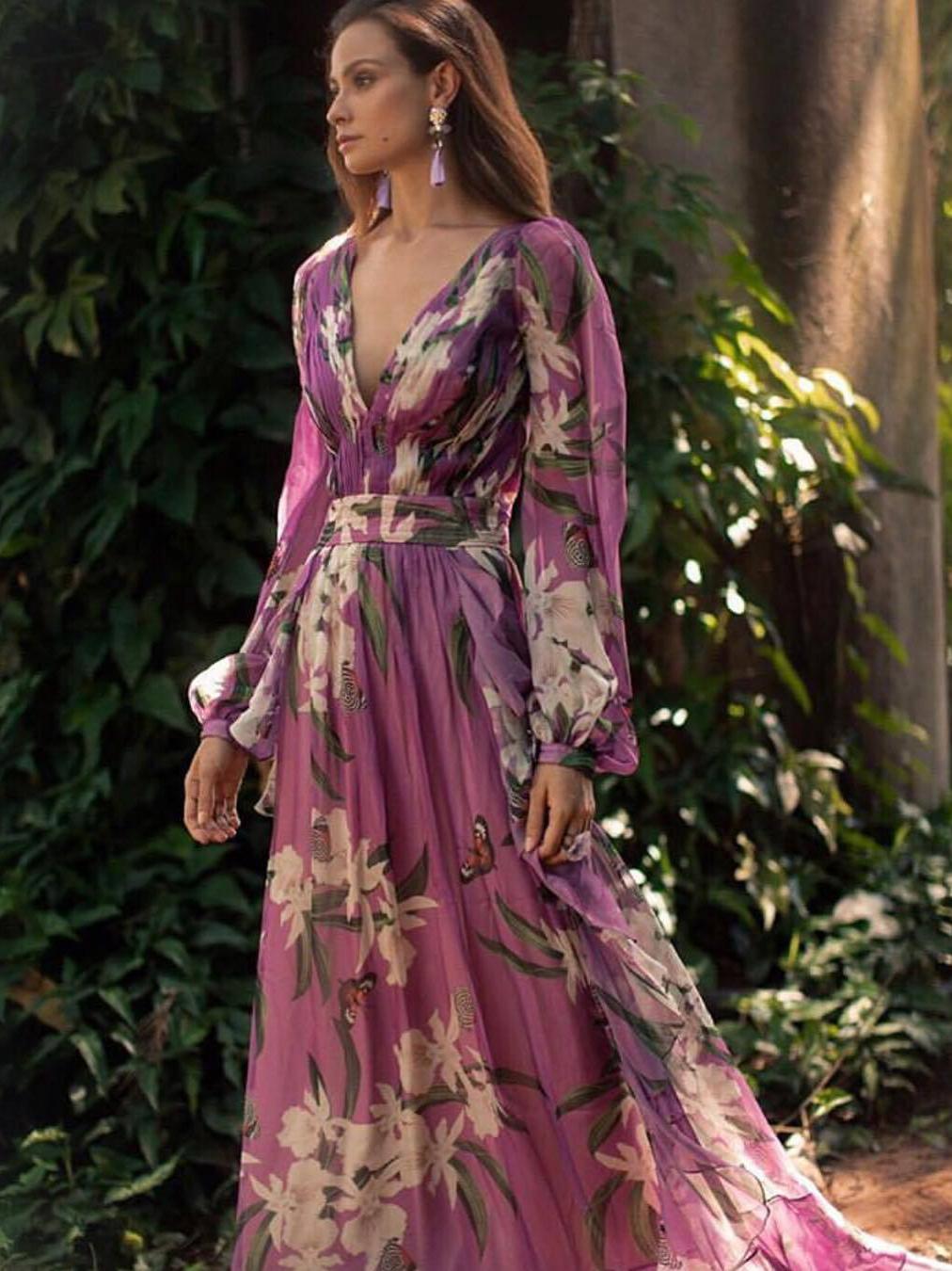 Deep V Neck Flower Printed Purple Evening Maxi Dresses