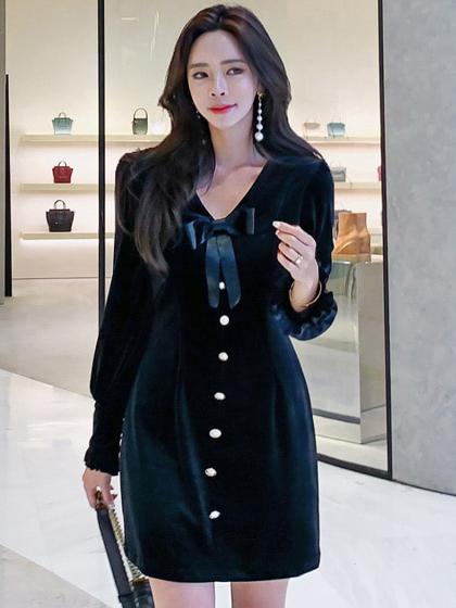 Single Button Velvet Bow Long Sleeve Mini Dress