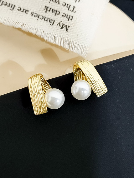 Chic Folding Metal Geometric Pearl Earrings
