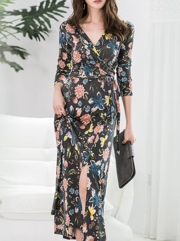 Floral Split Long Sleeve Wrap Dress