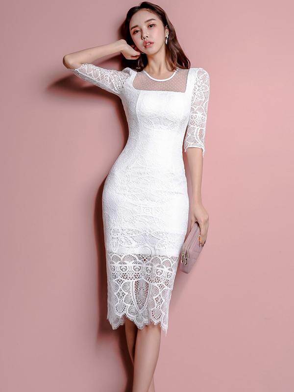 Elegant Knee Length Slim Half Sleeve Lace Dress