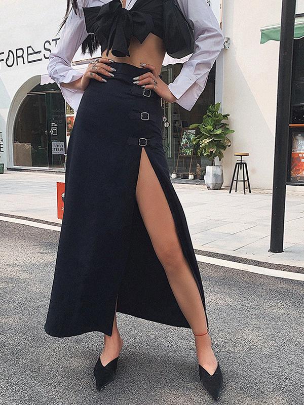 Trendy High Waist High Split Black Skirt