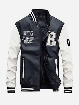 Contrast Color Letter Leather Jacket
