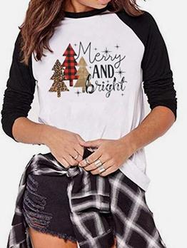 Christmas Letter Crew Neck Cheap T Shirt Printing