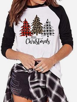 Christmas Tree Printed Casual T Shirt