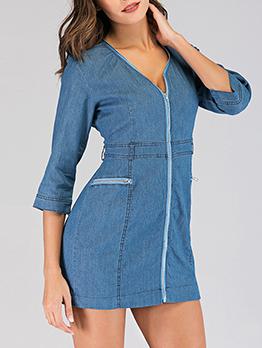 Three Quarter Sleeve Zipper Up Denim Bodycon Dress