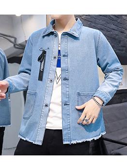 Cool Gradient Color Tassel Denim Jacket