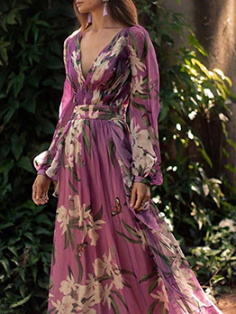Deep V Neck Flower Printed Purple Evening Maxi Dresses