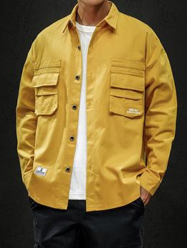 Solid Pockets Mens Winter Jackets