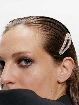 Chic Rhinestone Decor Gold Hair Clips Set