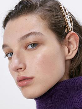 Simple Design Rhinestone Hair Clips Set