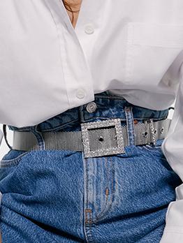 Rhinestone Decor Square Buckle Belts For Women