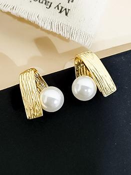 Chic Folding Metal Geometric Pearl Earrings