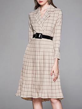 Plaid Ruffled Long Sleeve Work Dress