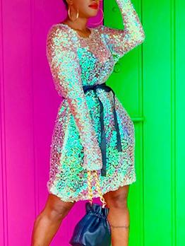 Trendy Round Collar Tie-Wrap Glitter Sequin Dress