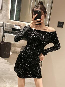 Glitter Star Velvet Off The Shoulder Black Dress