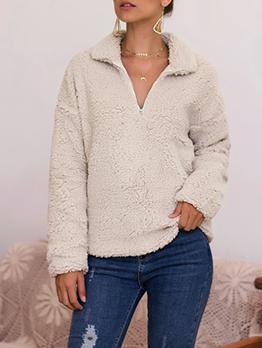 Solid Zip Up Long Sleeve Sweatshirts For Women