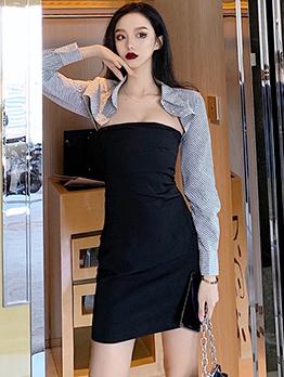 Turndown Collar Pinstripes Patchwork Bodycon Dress
