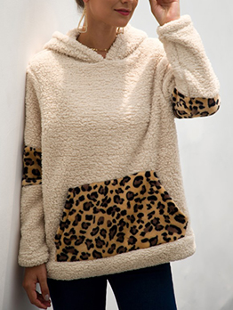 Leopard Patchwork Thick Pockets Pullover Hoodie