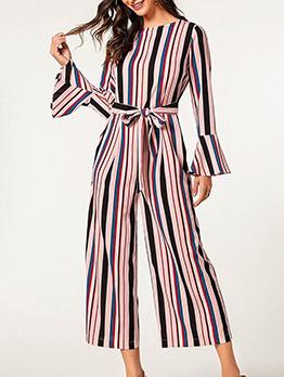 Flare Sleeve Tie Wrap Striped Jumpsuit