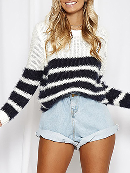 Classic Contrast Color Striped Ladies Sweater
