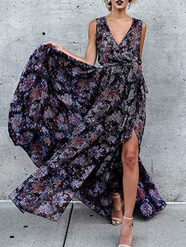 Bohemian V Neck Floral Sleeveless Long Dress