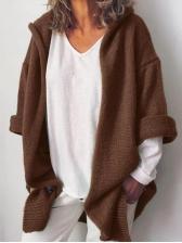 Solid Ribbing Hooded Knit Cardigan