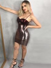 Sexy Night Club Spaghetti Strap Glitter Sequin Dress
