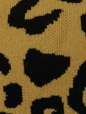 Crew Neck Leopard Printing Ladies Sweater