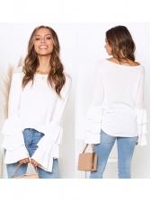 Casual Ruffled Sleeve Women White Blouse