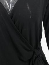 Front Tied Solid v Neck t Shirt Design