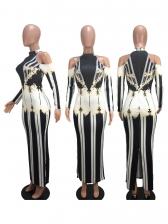 Euro Cold Shoulder Contrast Color Printed Maxi Dresses