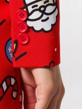 Christmas Print Long Sleeve Casual Blazer