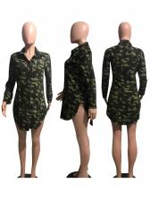 Camouflage Single Breasted Long Sleeve Shirt Dress