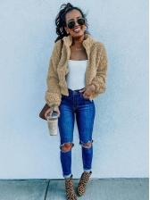 Solid Long Sleeve Zip Up Winter Coats